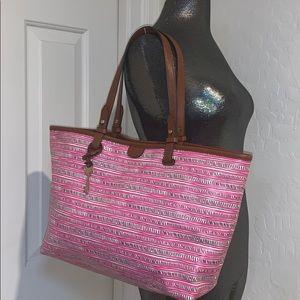 FOSSIL large Pink tote bag handbag purse